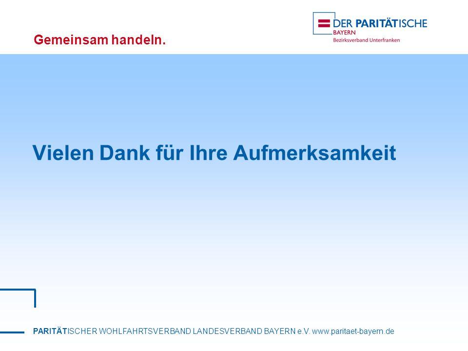 PARITÄTISCHER WOHLFAHRTSVERBAND LANDESVERBAND BAYERN e.V. www.paritaet-bayern.de Gemeinsam handeln. Vielen Dank für Ihre Aufmerksamkeit