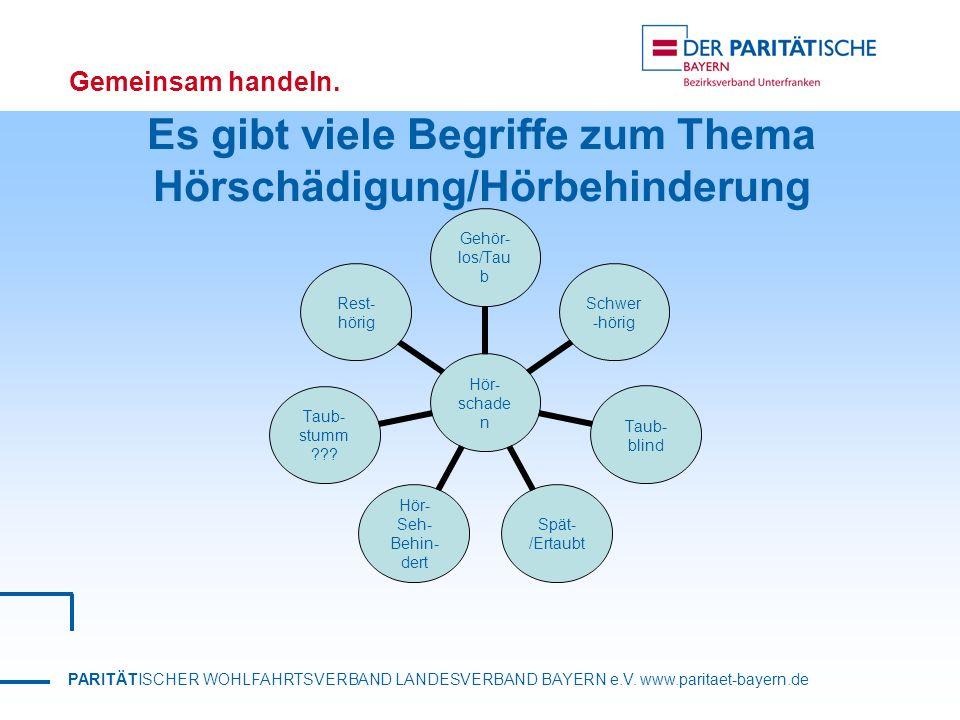 PARITÄTISCHER WOHLFAHRTSVERBAND LANDESVERBAND BAYERN e.V. www.paritaet-bayern.de Gemeinsam handeln. Es gibt viele Begriffe zum Thema Hörschädigung/Hör