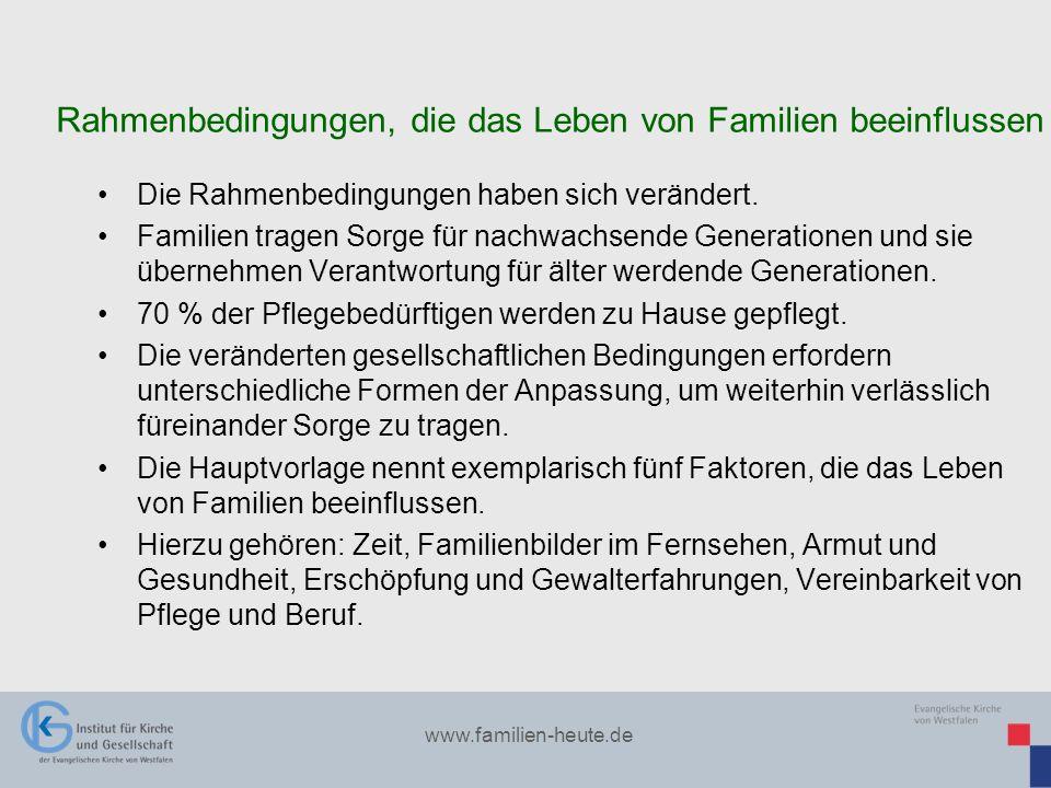www.familien-heute.de Die Rahmenbedingungen haben sich verändert. Familien tragen Sorge für nachwachsende Generationen und sie übernehmen Verantwortun
