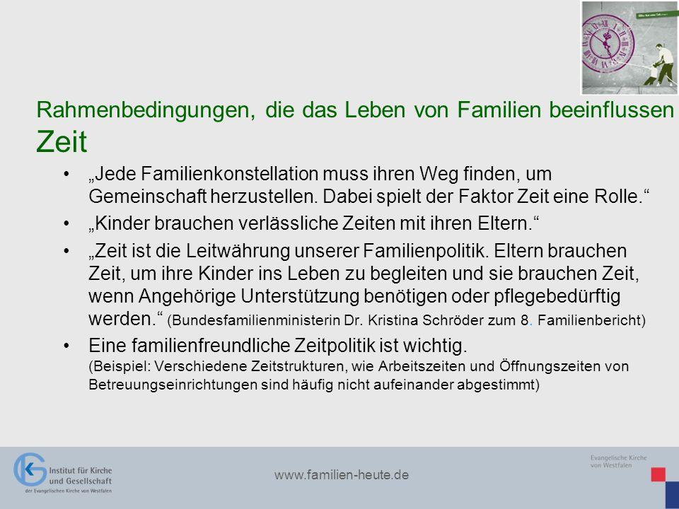 www.familien-heute.de Jede Familienkonstellation muss ihren Weg finden, um Gemeinschaft herzustellen. Dabei spielt der Faktor Zeit eine Rolle. Kinder