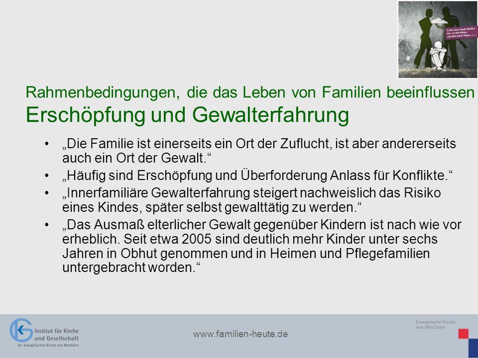 www.familien-heute.de Die Familie ist einerseits ein Ort der Zuflucht, ist aber andererseits auch ein Ort der Gewalt. Häufig sind Erschöpfung und Über