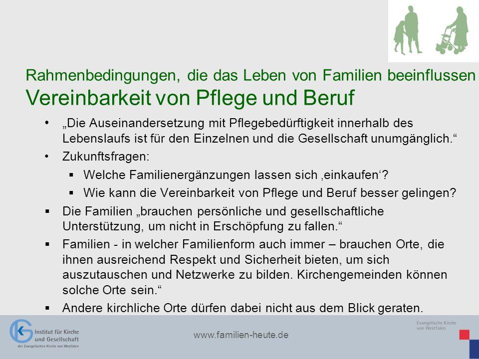 www.familien-heute.de Die Auseinandersetzung mit Pflegebedürftigkeit innerhalb des Lebenslaufs ist für den Einzelnen und die Gesellschaft unumgänglich