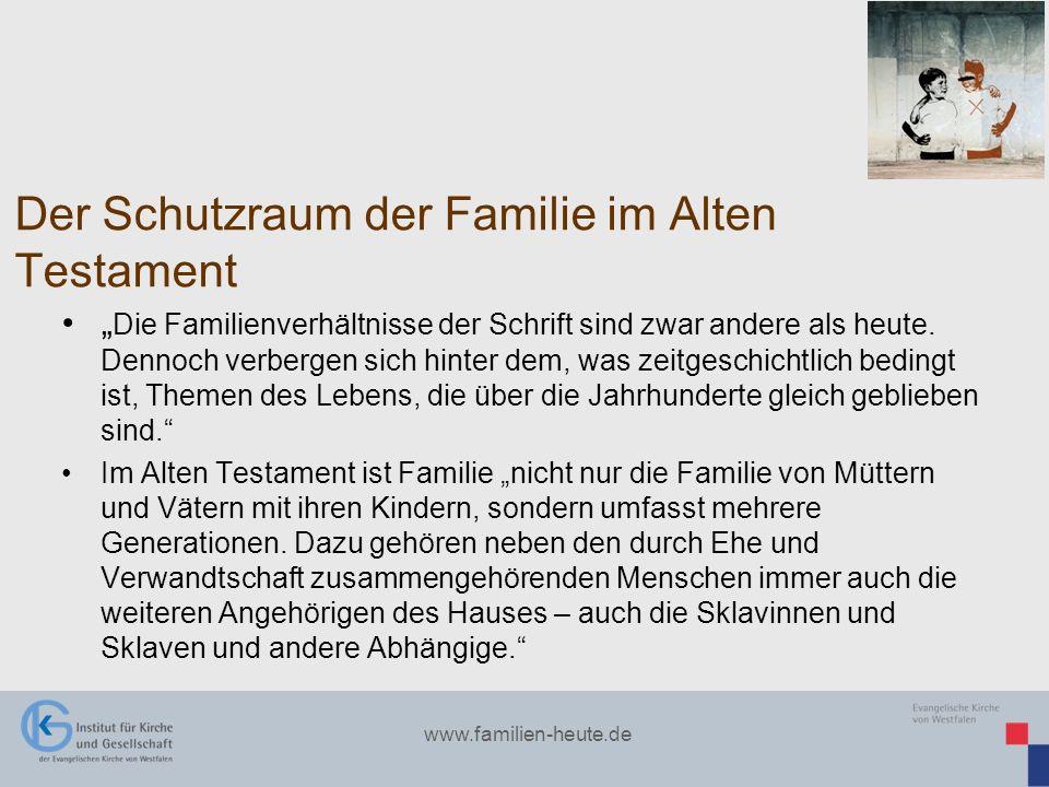 www.familien-heute.de Der Schutzraum der Familie im Alten Testament Die Familienverhältnisse der Schrift sind zwar andere als heute. Dennoch verbergen