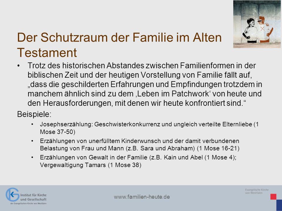 www.familien-heute.de Der Schutzraum der Familie im Alten Testament Trotz des historischen Abstandes zwischen Familienformen in der biblischen Zeit un