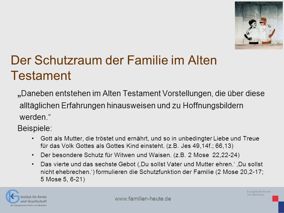 www.familien-heute.de Der Schutzraum der Familie im Alten Testament Daneben entstehen im Alten Testament Vorstellungen, die über diese alltäglichen Er