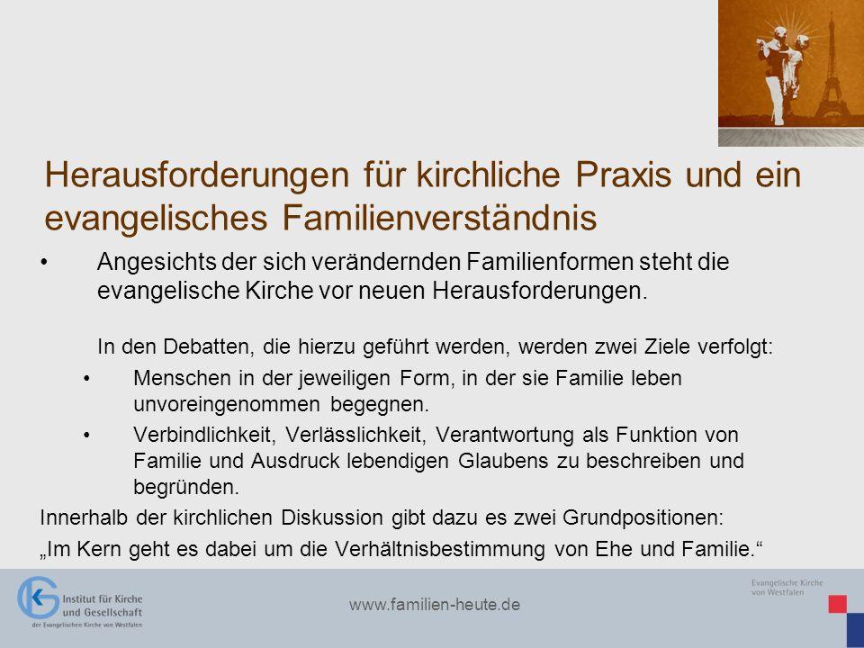 www.familien-heute.de Herausforderungen für kirchliche Praxis und ein evangelisches Familienverständnis Angesichts der sich verändernden Familienforme
