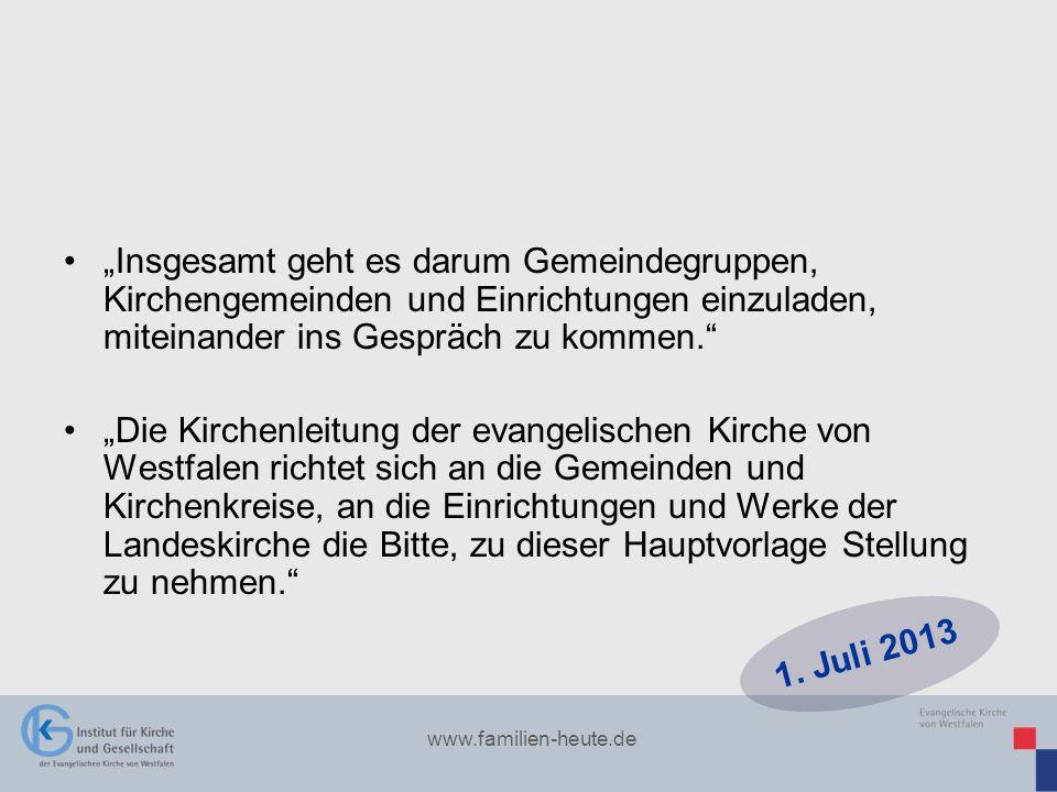 www.familien-heute.de Insgesamt geht es darum Gemeindegruppen, Kirchengemeinden und Einrichtungen einzuladen, miteinander ins Gespräch zu kommen. Die