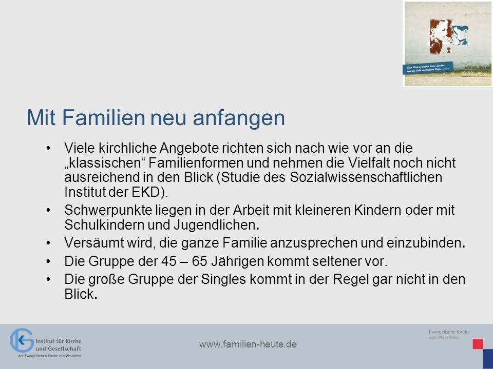www.familien-heute.de Viele kirchliche Angebote richten sich nach wie vor an die klassischen Familienformen und nehmen die Vielfalt noch nicht ausreic
