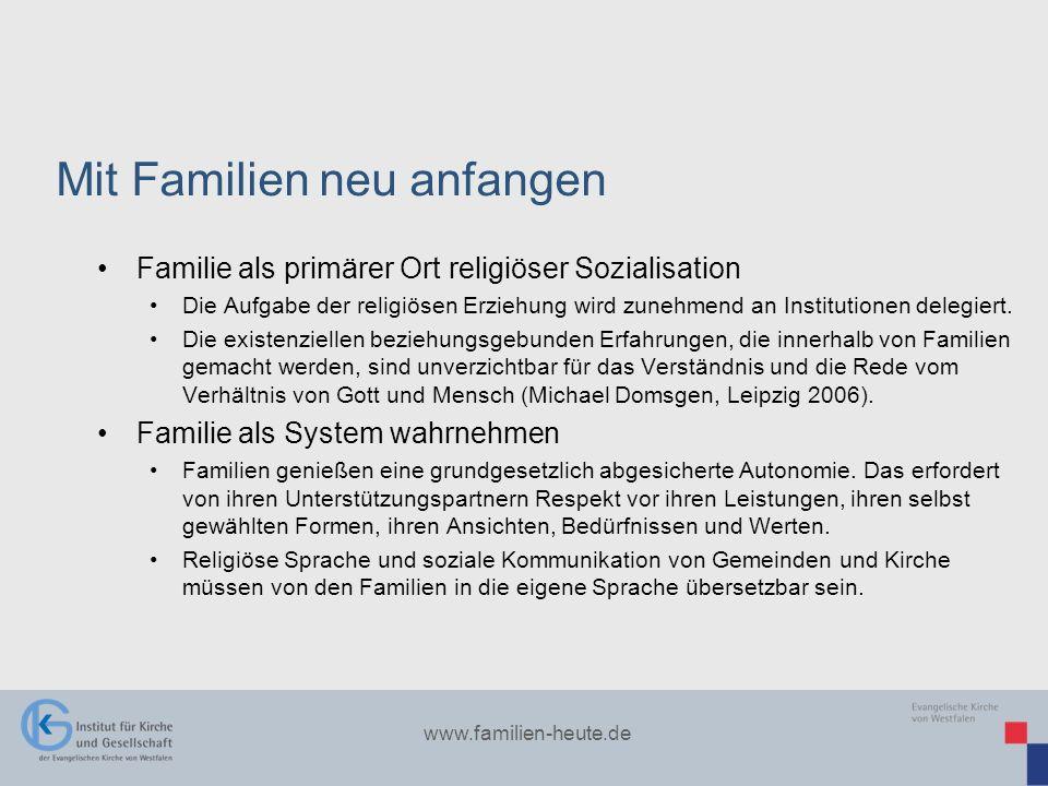 www.familien-heute.de Familie als primärer Ort religiöser Sozialisation Die Aufgabe der religiösen Erziehung wird zunehmend an Institutionen delegiert