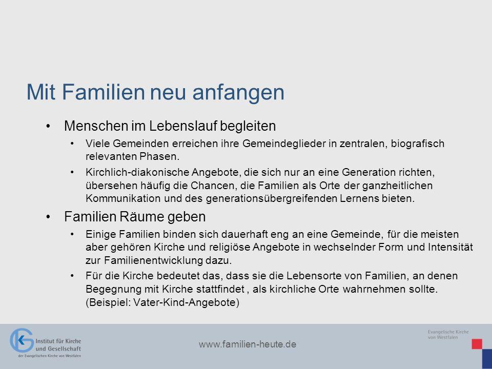 www.familien-heute.de Menschen im Lebenslauf begleiten Viele Gemeinden erreichen ihre Gemeindeglieder in zentralen, biografisch relevanten Phasen. Kir