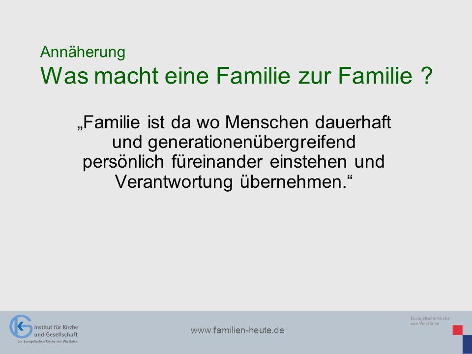 www.familien-heute.de Annäherung Was macht eine Familie zur Familie ? Familie ist da wo Menschen dauerhaft und generationenübergreifend persönlich für