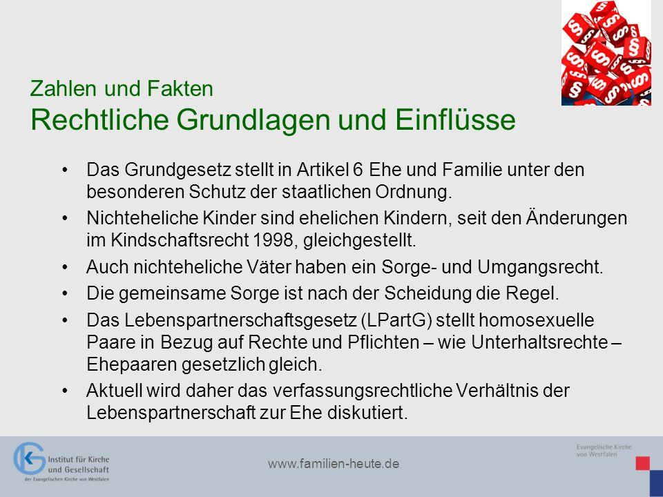 www.familien-heute.de Das Grundgesetz stellt in Artikel 6 Ehe und Familie unter den besonderen Schutz der staatlichen Ordnung. Nichteheliche Kinder si