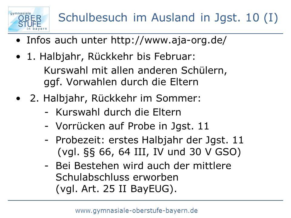 www.gymnasiale-oberstufe-bayern.de Schulbesuch im Ausland in Jgst. 10 (I) Infos auch unter http://www.aja-org.de/ 1. Halbjahr, Rückkehr bis Februar: K