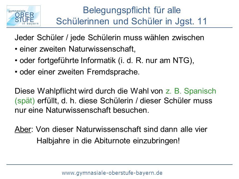 www.gymnasiale-oberstufe-bayern.de Belegungspflicht für alle Schülerinnen und Schüler in Jgst. 11 Jeder Schüler / jede Schülerin muss wählen zwischen