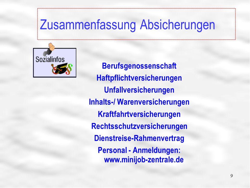 9 Zusammenfassung Absicherungen Berufsgenossenschaft Haftpflichtversicherungen Unfallversicherungen Inhalts-/ Warenversicherungen Kraftfahrtversicherungen Rechtsschutzversicherungen Dienstreise-Rahmenvertrag Personal - Anmeldungen: www.minijob-zentrale.de