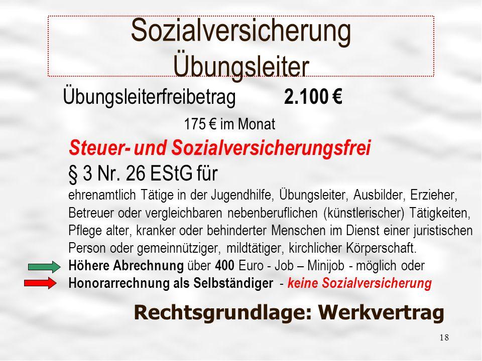 18 Sozialversicherung Übungsleiter Übungsleiterfreibetrag 2.100 175 im Monat Steuer- und Sozialversicherungsfrei § 3 Nr.