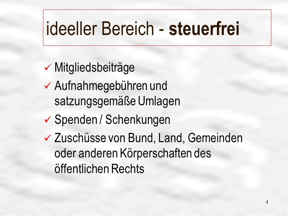 4 ideeller Bereich - steuerfrei Mitgliedsbeiträge Aufnahmegebühren und satzungsgemäße Umlagen Spenden / Schenkungen Zuschüsse von Bund, Land, Gemeinden oder anderen Körperschaften des öffentlichen Rechts