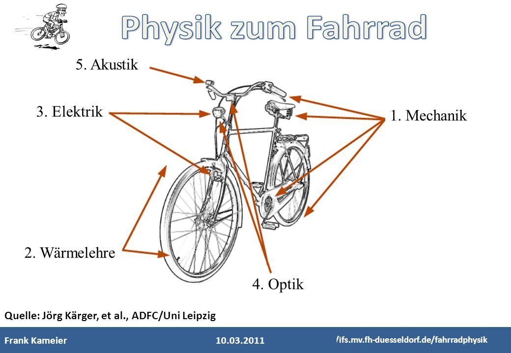Frank Kameier http://ifs.mv.fh-duesseldorf.de/fahrradphysik Quelle: Jörg Kärger, et al., ADFC/Uni Leipzig 1. Mechanik 5. Akustik 3. Elektrik 2. Wärmel