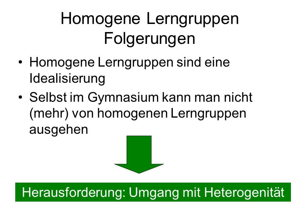 Homogene Lerngruppen Folgerungen Homogene Lerngruppen sind eine Idealisierung Selbst im Gymnasium kann man nicht (mehr) von homogenen Lerngruppen ausgehen Herausforderung: Umgang mit Heterogenität