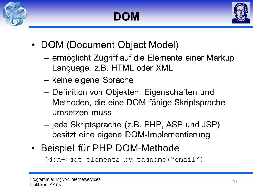 Programmierung von Internetservices Praktikum SS 03 11 DOM DOM (Document Object Model) –ermöglicht Zugriff auf die Elemente einer Markup Language, z.B