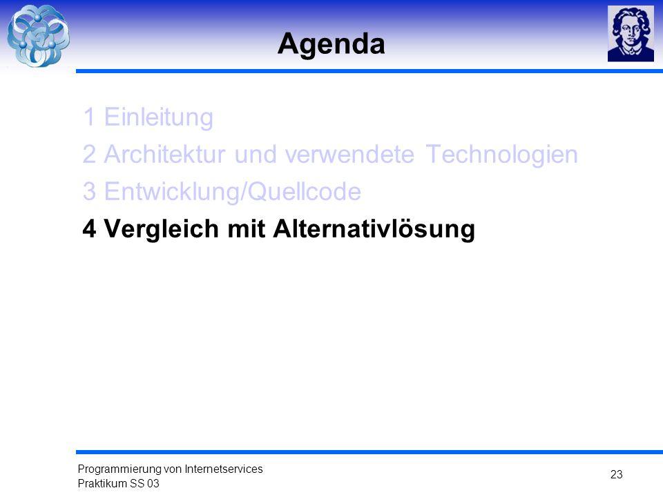 Programmierung von Internetservices Praktikum SS 03 23 Agenda 1 Einleitung 2 Architektur und verwendete Technologien 3 Entwicklung/Quellcode 4 Verglei