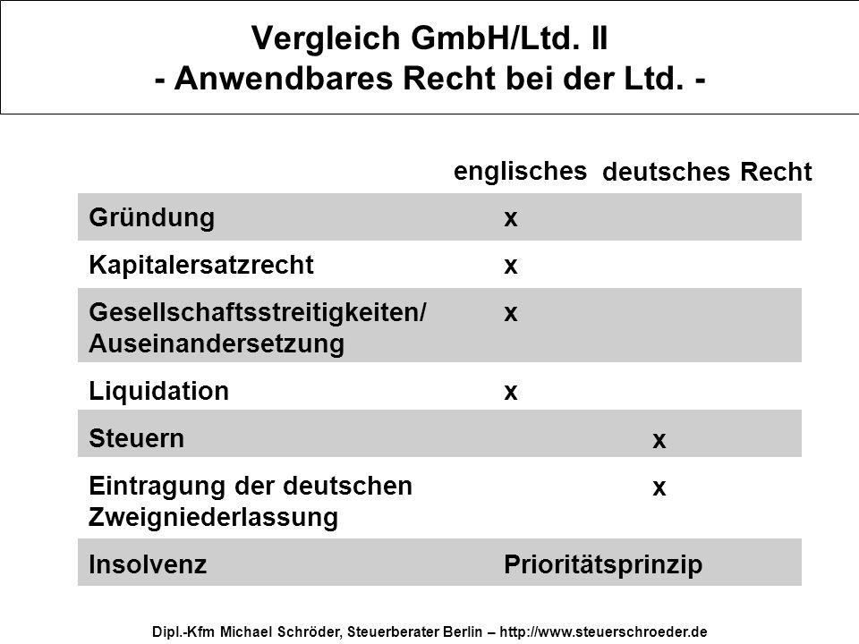 Dipl.-Kfm Michael Schröder, Steuerberater Berlin – http://www.steuerschroeder.de Vergleich GmbH/Ltd. II - Anwendbares Recht bei der Ltd. - Gründung Ka