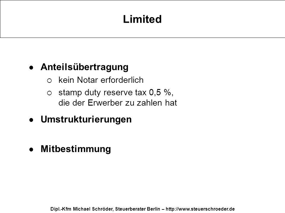 Dipl.-Kfm Michael Schröder, Steuerberater Berlin – http://www.steuerschroeder.de Limited Anteilsübertragung kein Notar erforderlich stamp duty reserve