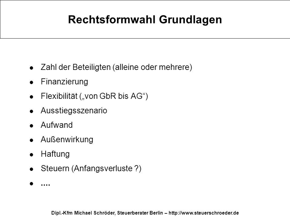 Dipl.-Kfm Michael Schröder, Steuerberater Berlin – http://www.steuerschroeder.de Rechtsformwahl - Fazit Die richtige Rechtsform für gesamte Betriebsdauer.