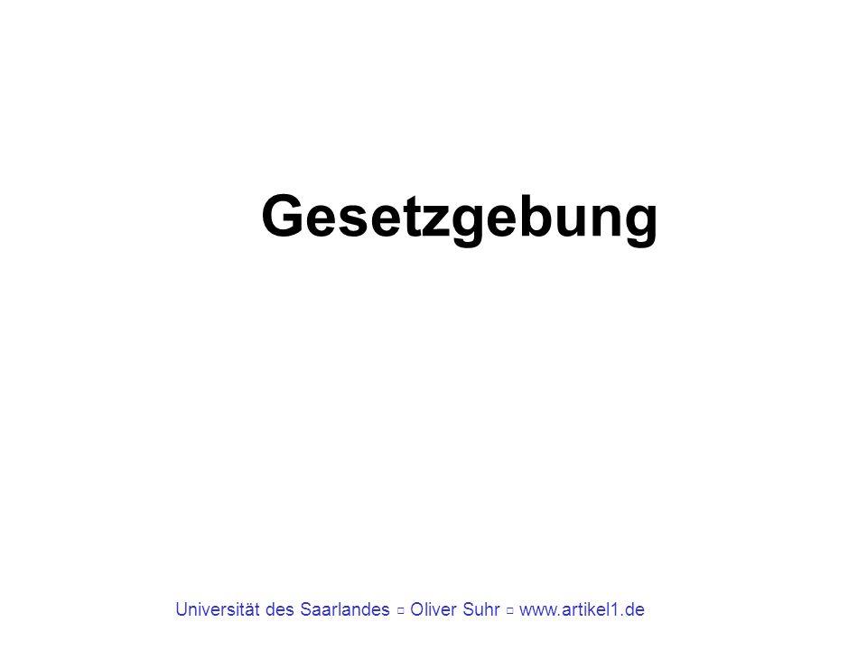 Universität des Saarlandes Oliver Suhr www.artikel1.de Gesetzgebungsverfahren Geregelt in Art.