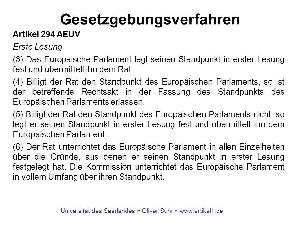 Universität des Saarlandes Oliver Suhr www.artikel1.de Gesetzgebungsverfahren Artikel 294 AEUV Erste Lesung (3) Das Europäische Parlament legt seinen