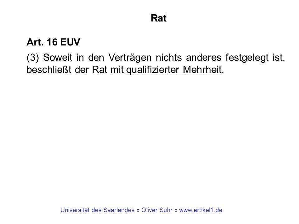 Universität des Saarlandes Oliver Suhr www.artikel1.de Rat Art. 16 EUV (3) Soweit in den Verträgen nichts anderes festgelegt ist, beschließt der Rat m