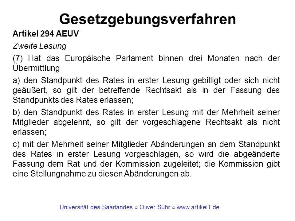 Universität des Saarlandes Oliver Suhr www.artikel1.de Gesetzgebungsverfahren Artikel 294 AEUV Zweite Lesung (7) Hat das Europäische Parlament binnen