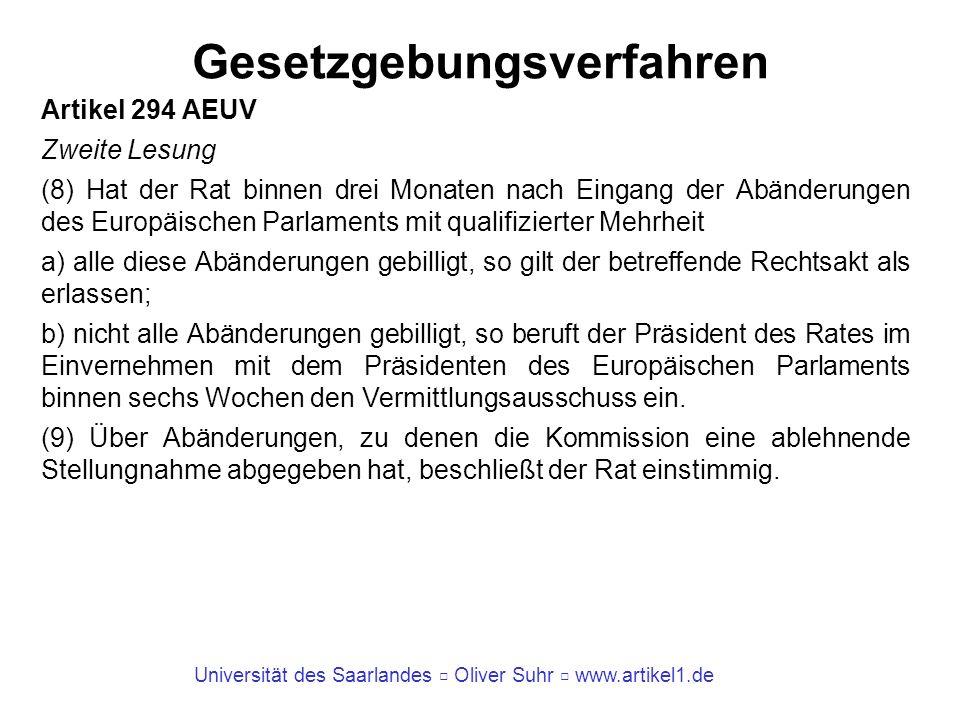 Universität des Saarlandes Oliver Suhr www.artikel1.de Gesetzgebungsverfahren Artikel 294 AEUV Zweite Lesung (8) Hat der Rat binnen drei Monaten nach
