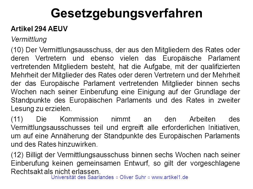 Universität des Saarlandes Oliver Suhr www.artikel1.de Gesetzgebungsverfahren Artikel 294 AEUV Vermittlung (10) Der Vermittlungsausschuss, der aus den