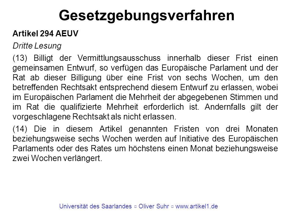 Universität des Saarlandes Oliver Suhr www.artikel1.de Gesetzgebungsverfahren Artikel 294 AEUV Dritte Lesung (13) Billigt der Vermittlungsausschuss in