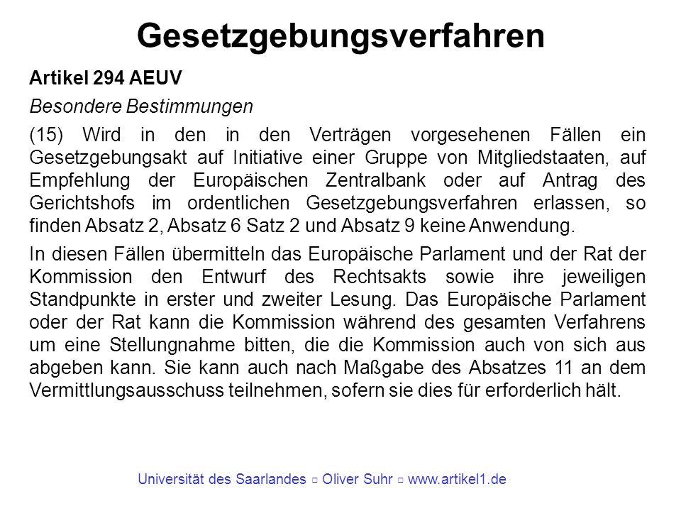 Universität des Saarlandes Oliver Suhr www.artikel1.de Gesetzgebungsverfahren Artikel 294 AEUV Besondere Bestimmungen (15) Wird in den in den Verträge