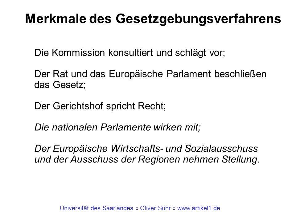 Universität des Saarlandes Oliver Suhr www.artikel1.de Gesetzgebungsverfahren Artikel 17 EUV (2) Soweit in den Verträgen nichts anderes festgelegt ist, darf ein Gesetzgebungsakt der Union nur auf Vorschlag der Kommission erlassen werden.