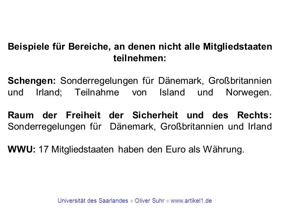 Universität des Saarlandes Oliver Suhr www.artikel1.de Beispiele für Bereiche, an denen nicht alle Mitgliedstaaten teilnehmen: Schengen: Sonderregelun