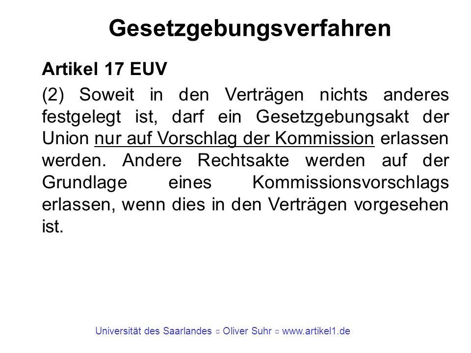 Universität des Saarlandes Oliver Suhr www.artikel1.de Gesetzgebungsverfahren Artikel 17 EUV (2) Soweit in den Verträgen nichts anderes festgelegt ist