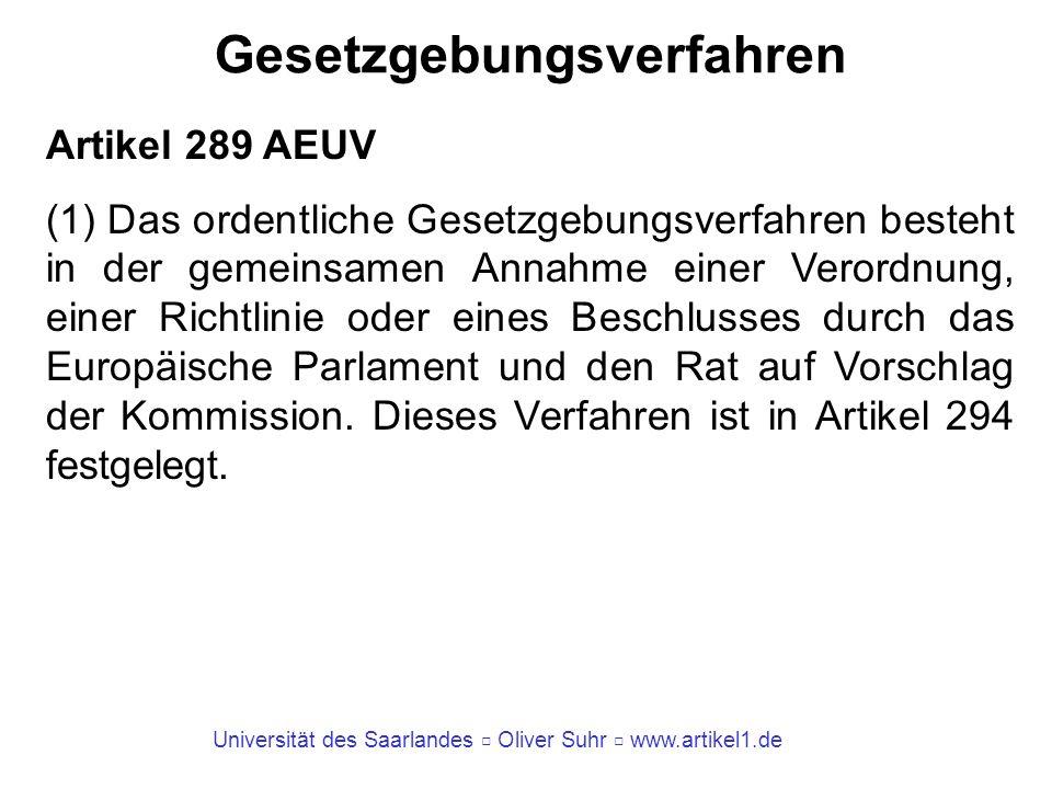 Universität des Saarlandes Oliver Suhr www.artikel1.de Gesetzgebungsverfahren Artikel 289 AEUV (2) In bestimmten, in den Verträgen vorgesehenen Fällen erfolgt als besonderes Gesetzgebungs- verfahren die Annahme einer Verordnung, einer Richtlinie oder eines Beschlusses durch das Europäische Parlament mit Beteiligung des Rates oder durch den Rat mit Beteiligung des Europäischen Parlaments.