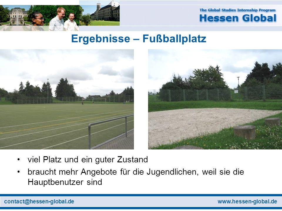 www.hessen-global.decontact@hessen-global.de Ergebnisse – Fußballplatz viel Platz und ein guter Zustand braucht mehr Angebote für die Jugendlichen, weil sie die Hauptbenutzer sind