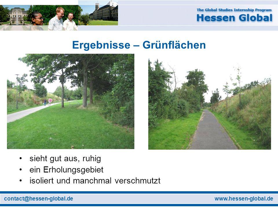 www.hessen-global.decontact@hessen-global.de Ergebnisse – Grünflächen sieht gut aus, ruhig ein Erholungsgebiet isoliert und manchmal verschmutzt