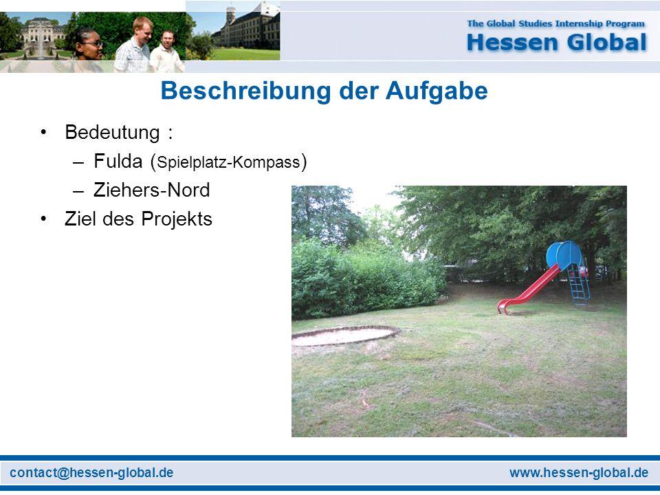 www.hessen-global.decontact@hessen-global.de Beschreibung der Aufgabe Bedeutung : –Fulda ( Spielplatz-Kompass ) –Ziehers-Nord Ziel des Projekts