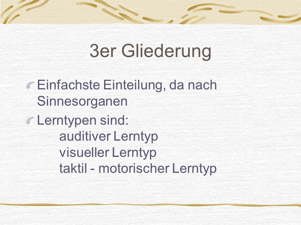 3er Gliederung Einfachste Einteilung, da nach Sinnesorganen Lerntypen sind: auditiver Lerntyp visueller Lerntyp taktil - motorischer Lerntyp