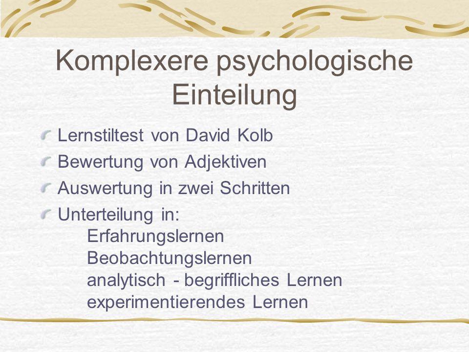 Komplexere psychologische Einteilung Lernstiltest von David Kolb Bewertung von Adjektiven Auswertung in zwei Schritten Unterteilung in: Erfahrungslern