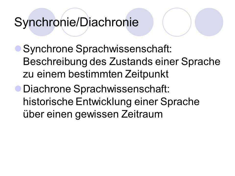Synchronie/Diachronie Synchrone Sprachwissenschaft: Beschreibung des Zustands einer Sprache zu einem bestimmten Zeitpunkt Diachrone Sprachwissenschaft