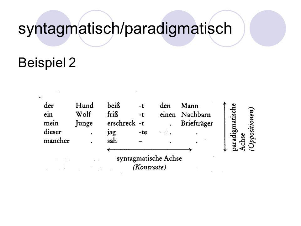 syntagmatisch/paradigmatisch Beispiel 2