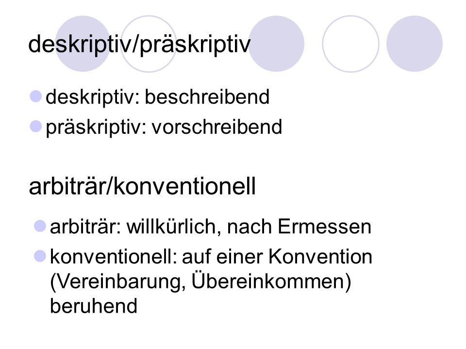 deskriptiv/präskriptiv deskriptiv: beschreibend präskriptiv: vorschreibend arbiträr/konventionell arbiträr: willkürlich, nach Ermessen konventionell: