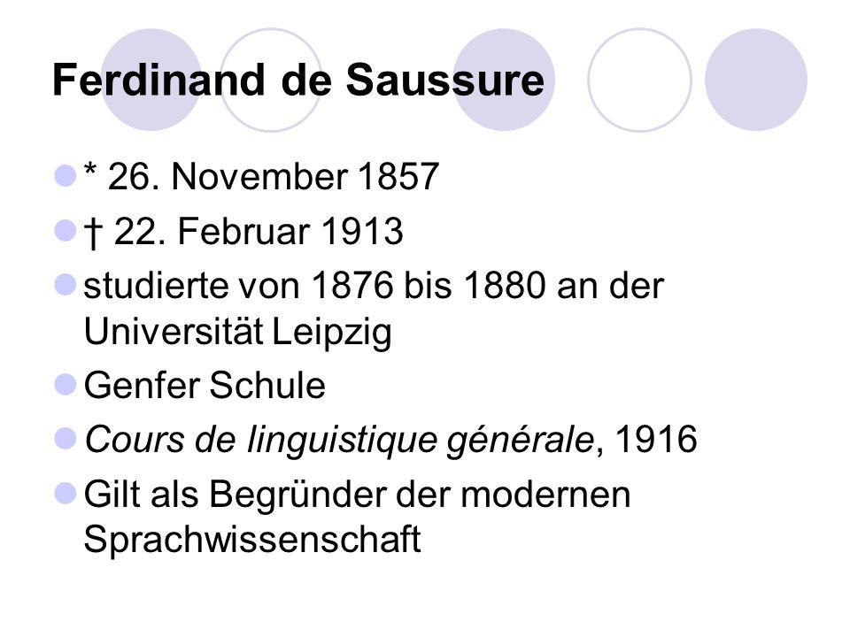 * 26. November 1857 22. Februar 1913 studierte von 1876 bis 1880 an der Universität Leipzig Genfer Schule Cours de linguistique générale, 1916 Gilt al