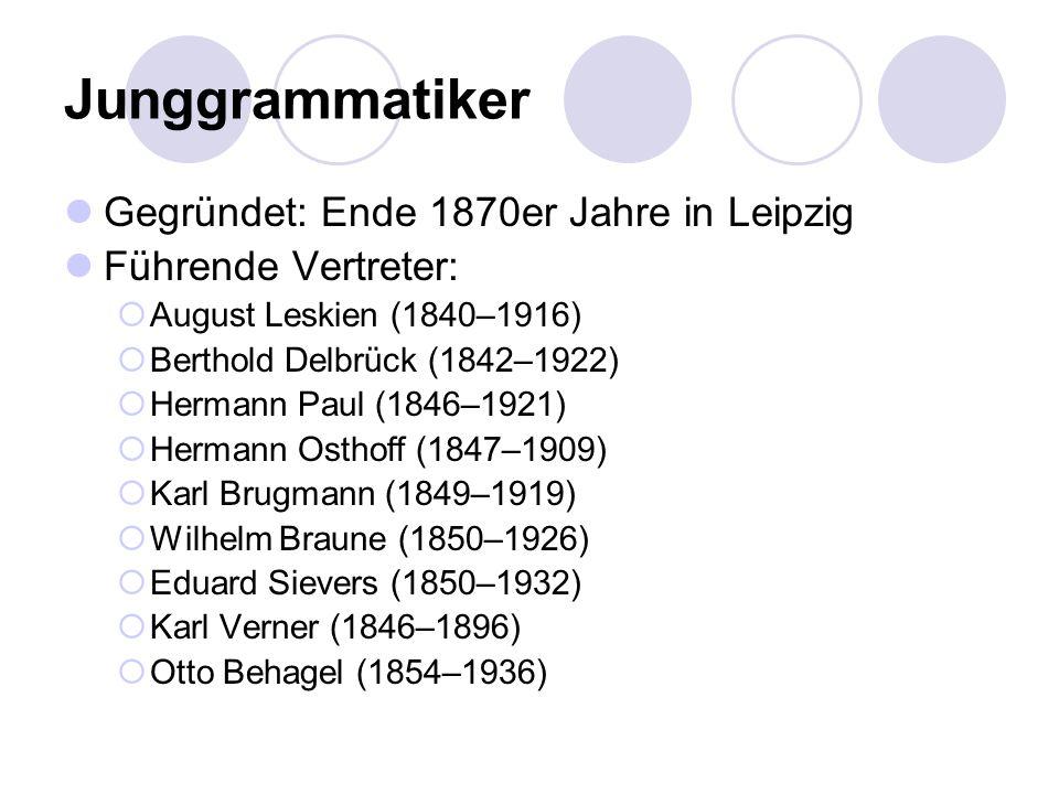 Gegründet: Ende 1870er Jahre in Leipzig Führende Vertreter: August Leskien (1840–1916) Berthold Delbrück (1842–1922) Hermann Paul (1846–1921) Hermann